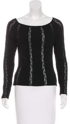 Valentino Lace-Accented Long Sleeve Top