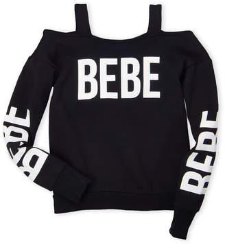 Bebe Girls 7-16) Logo Cold Shoulder Sweatshirt