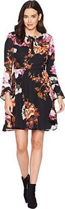 ECI New York Women's Long Sleeve Tie Neck Floral Chiffon fit and Flare Dress