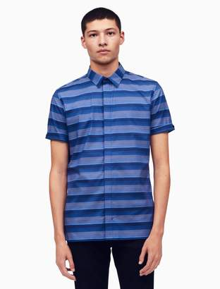 Calvin Klein classic fit covered placket ombre stripe shirt