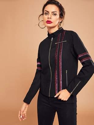 Shein Contrast Sequin Tape Zip Up Jacket