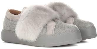 Max Mara Mink-trimmed cashmere sneakers