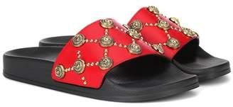 Balmain Embellished leather slides