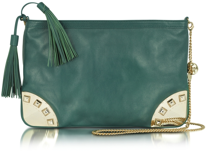 Patrizia Pepe Leather and Brass Shoulder Bag