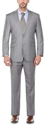 Verno Big Men' s Charcoal Grey Peak Lapel Classic Fit Two Piece Suit