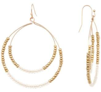 Melrose and Market Double Beaded Thin Hoop Drop Earrings