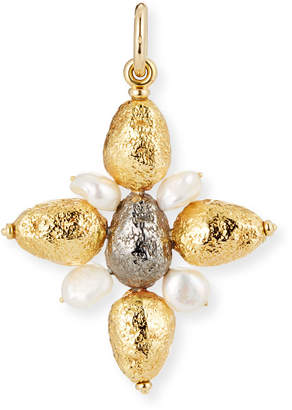 Grazia And Marica Vozza Yellow Golden Cross Nugget Charm with Pearls