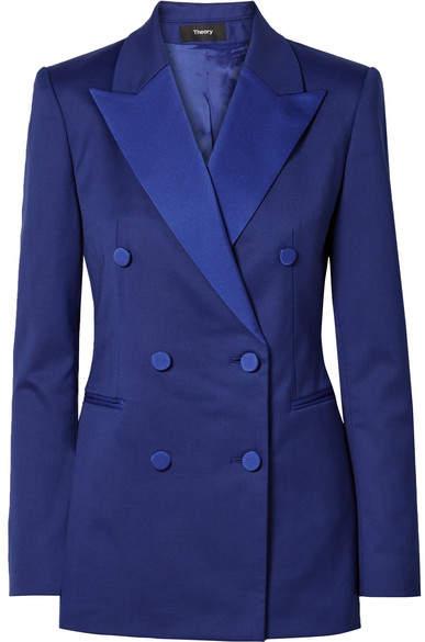 Satin-trimmed Crepe Tuxedo Blazer - Blue