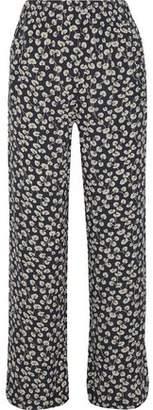 Ganni Roseburg Floral-Print Crepe Wide-Leg Pants