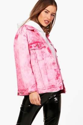 boohoo Petite Beth Raspberry Acid Wash Denim Jacket