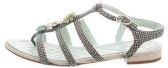 Chanel 2016 Tweed Embellished Sandals