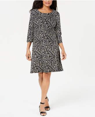 Karen Scott Plus Size 3/4-Sleeve Floral-Print Dress