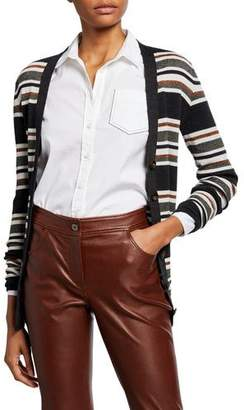 Brunello Cucinelli Wool-Cashmere Shimmer Striped Cardigan