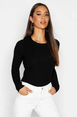 boohoo Rib Knit Crew Neck Sweater