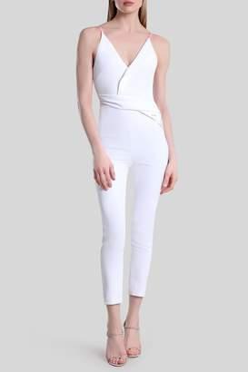 Cushnie White Ro Deep V Sleeveless Jumpsuit