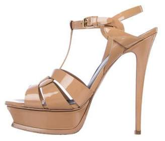Saint Laurent Tribute Patent Leather Sandals Tan Tribute Patent Leather Sandals