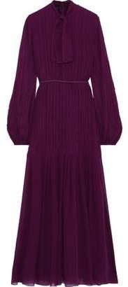 Giambattista Valli Tie-neck Pintucked Silk-chiffon Maxi Dress