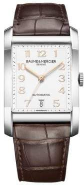 Baume & Mercier Hampton Stainless Steel& Brown Automatic Strap Watch