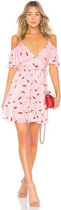 LPA Cold Shoulder Ruffle Wrap Dress