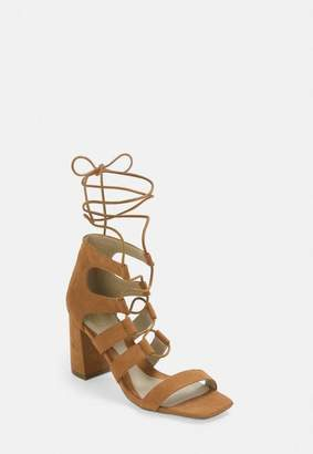 Missguided Tan Ghillie Mid Heel Sandals