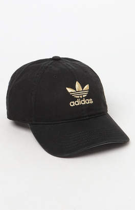 adidas Relaxed Black and Gold Strapback Dad Hat