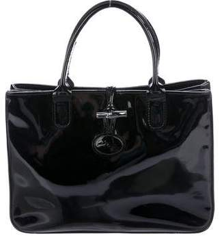 Pre Owned At Therealreal Longchamp Patent Leather Roseau Tote