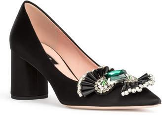 d55064c0c78 Rochas Black satin crystal embellished pumps