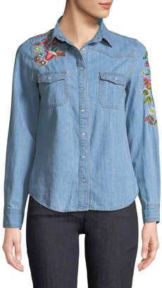 Haute Rogue Embroidered-Denim Button-Front Blouse