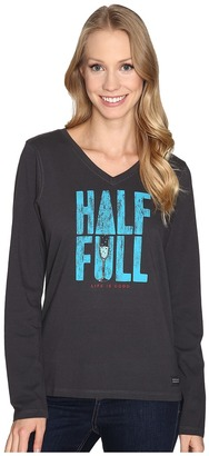 Life is good Half Full Champagne Long Sleeve Crusher Vee $30 thestylecure.com
