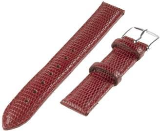 Republic Women's Lizard Grain Leather Watch Band 14mm Regular Length, Red