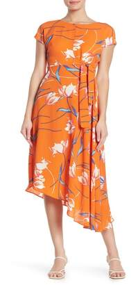 Donna Morgan Floral Tie High/Low Midi Dress