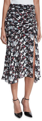 Veronica Beard Madison Floral Silk Midi Skirt, Black/Navy/Red/White $375 thestylecure.com