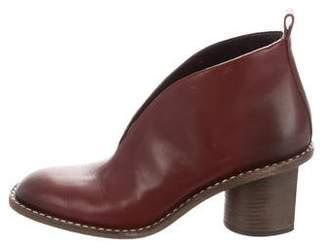Celine Leather Square-Toe Booties