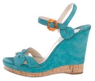 552e508a045d Pre-Owned at TheRealReal · Prada Suede Ankle Strap Wedges