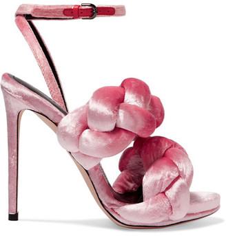 Marco De Vincenzo - Braided Velvet Sandals - Pink $1,070 thestylecure.com