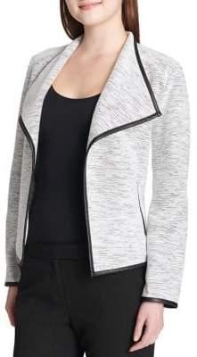 Calvin Klein Plus Flyaway Faux Leather-Trimmed Blazer