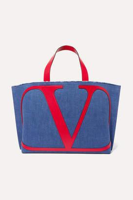 Valentino Garavani Vlogo Escape Large Leather-trimmed Denim Tote - Navy