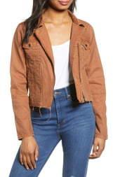 Blank NYC BLANKNYC Rust Denim Moto Jacket
