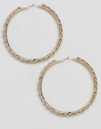 True Decadence Gold Embellished Hoop Earrings