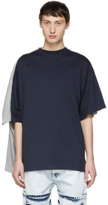 Y/Project Grey and Navy Double T-Shirt
