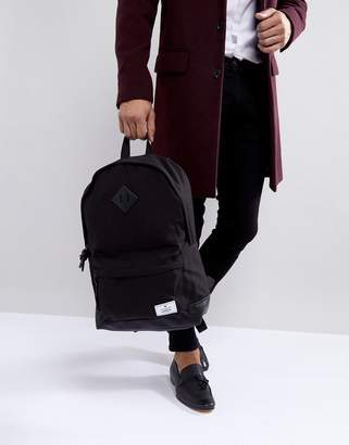 Asos Design DESIGN backpack in black canvas with faux leather base
