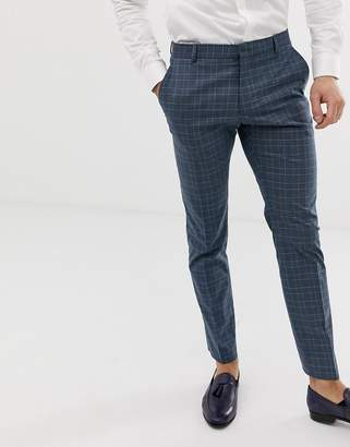 Selected slim suit pant in blue check