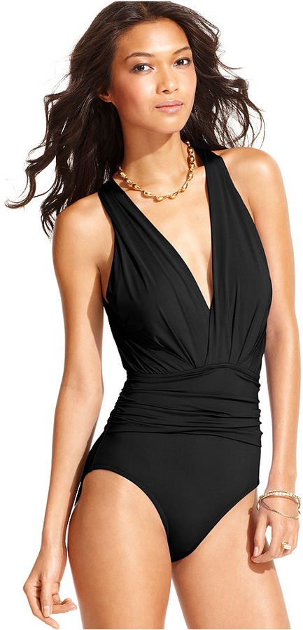 Badgley Mischka Swimsuit, V-Neck Ruched Cutout One-Piece