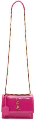 Saint Laurent Pink Patent Small Sunset Monogramme Chain Bag
