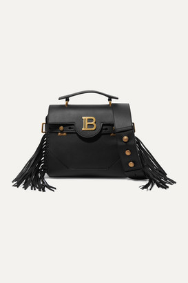 Balmain Bbuzz Fringed Leather Shoulder Bag - Black