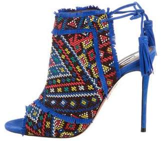 Aquazzura Beaded Peep-Toe Sandals