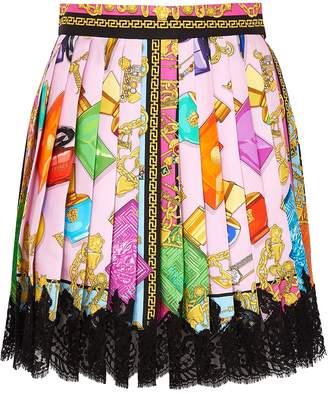 Versace Printed Pleated Silk Mini Skirt