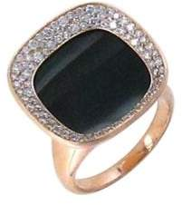 Roberto Coin Caranby Street Diamond, Black Jade & 18K Rose Gold Ring