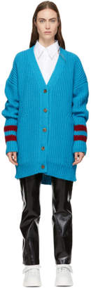 MSGM Blue Ribbed Long Cardigan