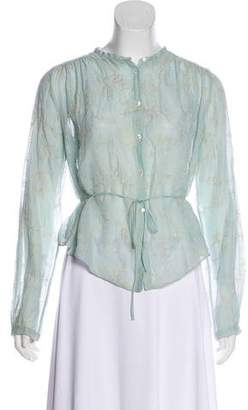 Giada Forte Embroidered Long Sleeve Blouse w/ Tags